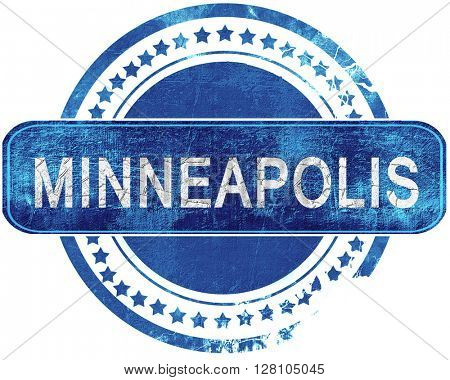 minneapolis grunge blue stamp. Isolated on white.