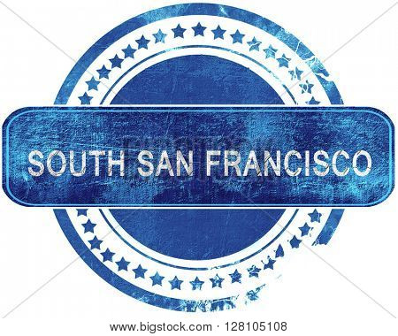 south san francisco grunge blue stamp. Isolated on white.