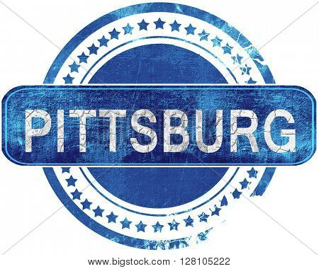 pittsburg grunge blue stamp. Isolated on white.