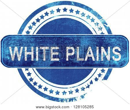 white plains grunge blue stamp. Isolated on white.