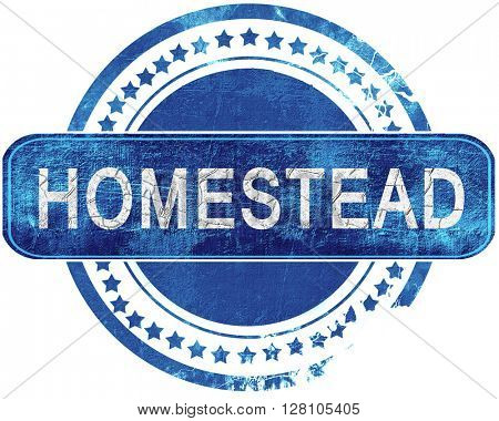 homestead grunge blue stamp. Isolated on white.