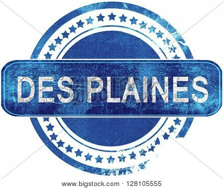 des plaines grunge blue stamp. Isolated on white.
