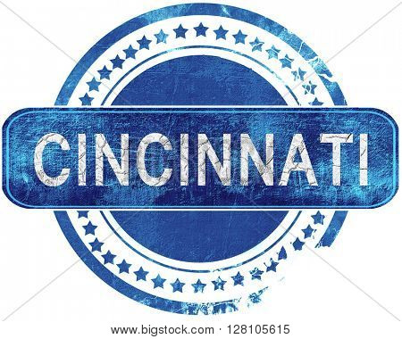 cincinnati grunge blue stamp. Isolated on white.