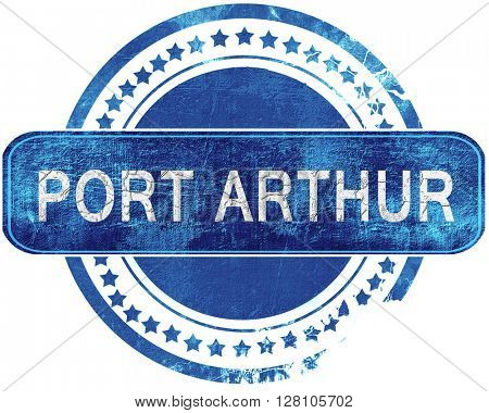 port arthur grunge blue stamp. Isolated on white.