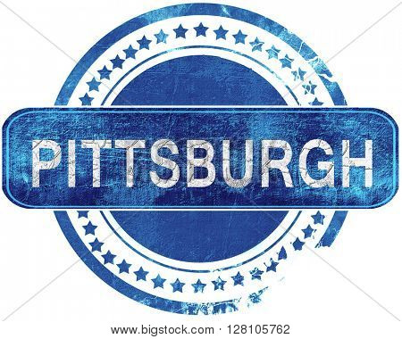 pittsburgh grunge blue stamp. Isolated on white.