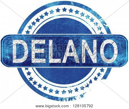 delano grunge blue stamp. Isolated on white.