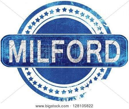 milford grunge blue stamp. Isolated on white.