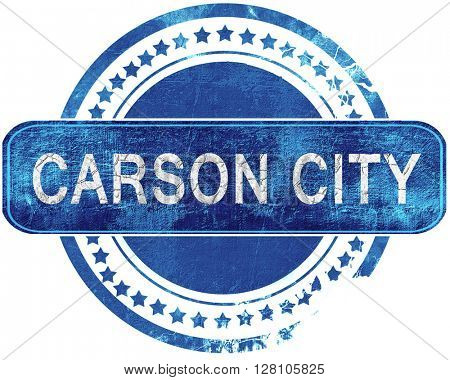 carson city grunge blue stamp. Isolated on white.