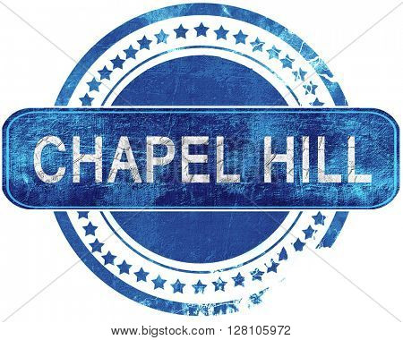 chapel hill grunge blue stamp. Isolated on white.