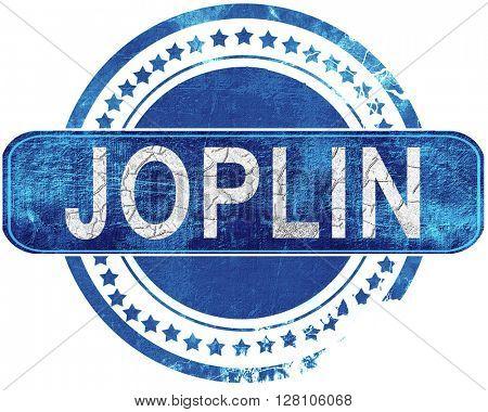 joplin grunge blue stamp. Isolated on white.