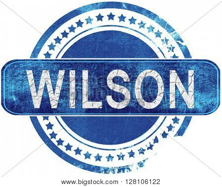 wilson grunge blue stamp. Isolated on white.
