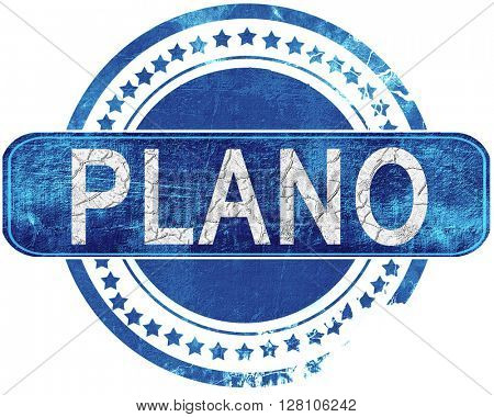 plano grunge blue stamp. Isolated on white.