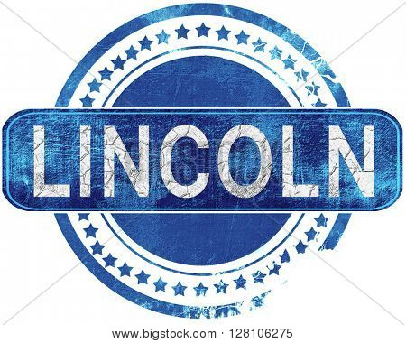 lincoln grunge blue stamp. Isolated on white.