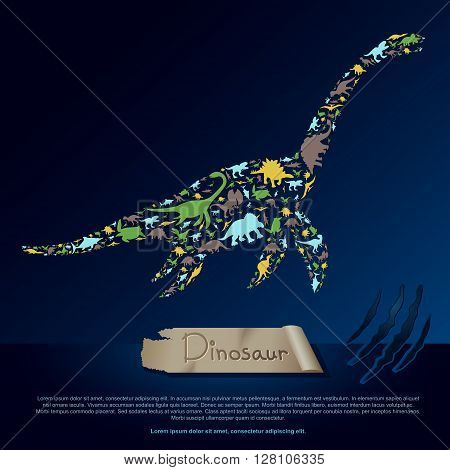 Flat dinosaur and prehistoric reptile animal infographic banner background template layout in plesiosaurus icon shape for education or advertisement create by vector