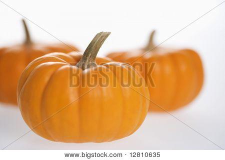 Still life of three orange pumpkins against white background.