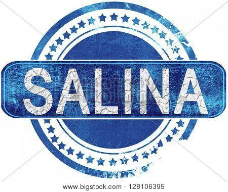 salina grunge blue stamp. Isolated on white.