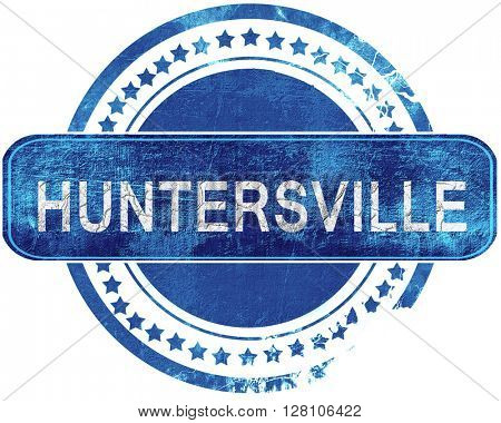 huntersville grunge blue stamp. Isolated on white.