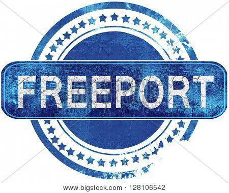 freeport grunge blue stamp. Isolated on white.