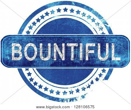 bountiful grunge blue stamp. Isolated on white.