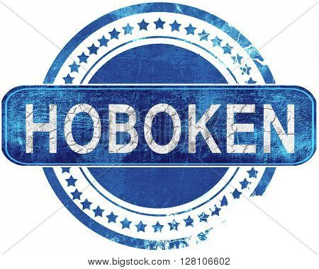 hoboken grunge blue stamp. Isolated on white.