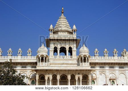 Grand edifice Jaswanth Thada set against dark blue sky Jodhpur Rajasthan India Asia