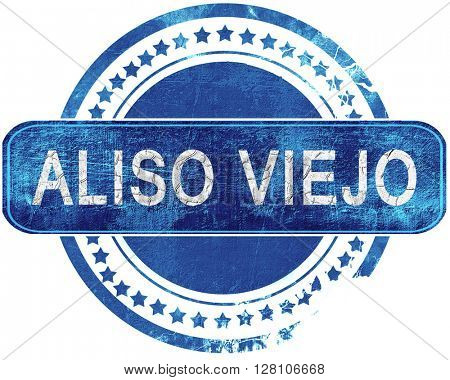aliso viejo grunge blue stamp. Isolated on white.