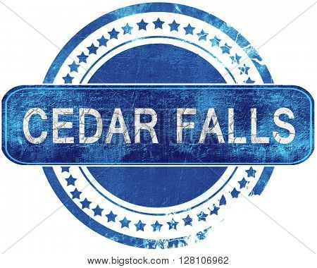 cedar falls grunge blue stamp. Isolated on white.