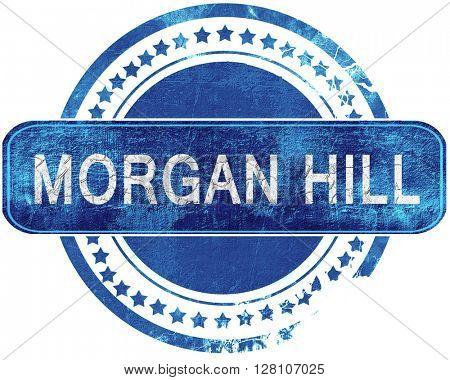 morgan hill grunge blue stamp. Isolated on white.