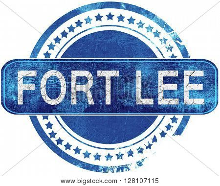 fort lee grunge blue stamp. Isolated on white.