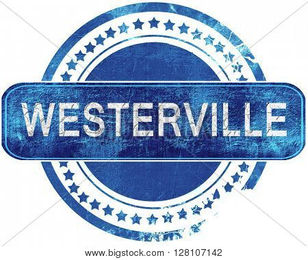 westerville grunge blue stamp. Isolated on white.