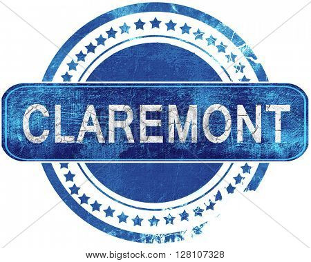 claremont grunge blue stamp. Isolated on white.