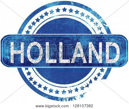 holland grunge blue stamp. Isolated on white.