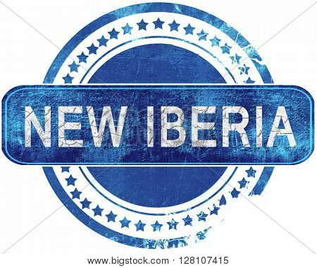 new iberia grunge blue stamp. Isolated on white.