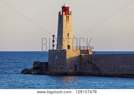 Nice Lighthouse at sunset. Nice French Riviera France.