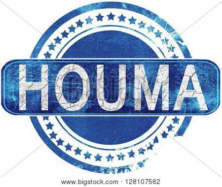 houma grunge blue stamp. Isolated on white.