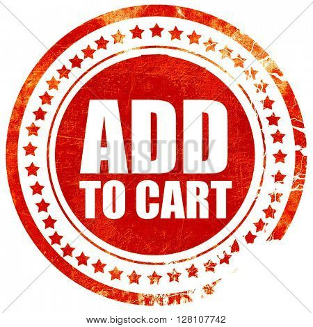 add to cart, red grunge stamp on solid background