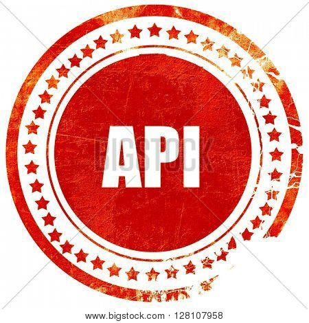 api, red grunge stamp on solid background