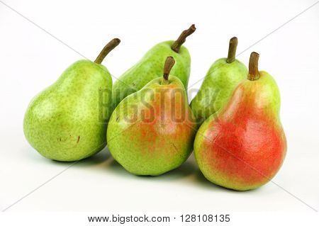 fresh Bartlett pears on white background, food objects