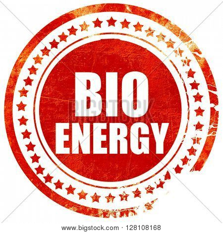 bio energy, red grunge stamp on solid background