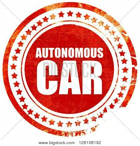autonomous car, red grunge stamp on solid background