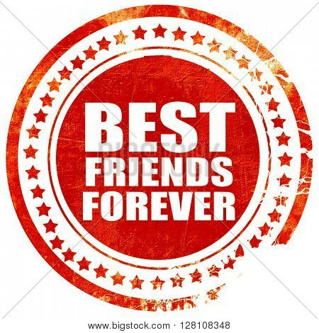 best friends forever, red grunge stamp on solid background