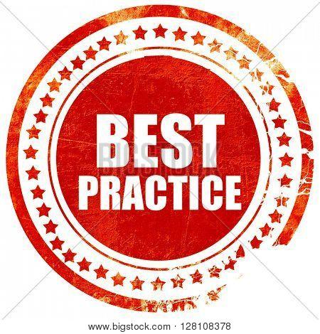 best practice, red grunge stamp on solid background