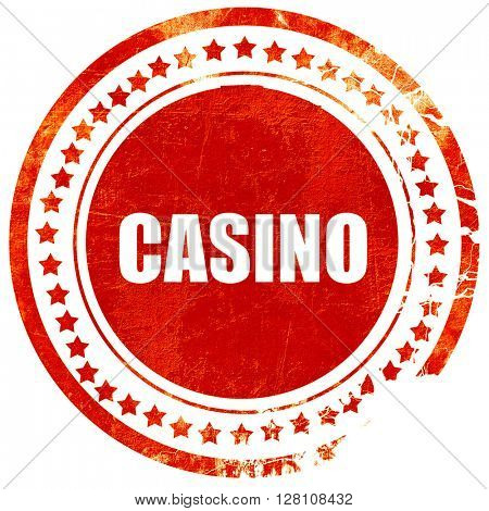 casino, red grunge stamp on solid background