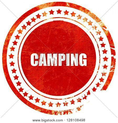 camping, red grunge stamp on solid background