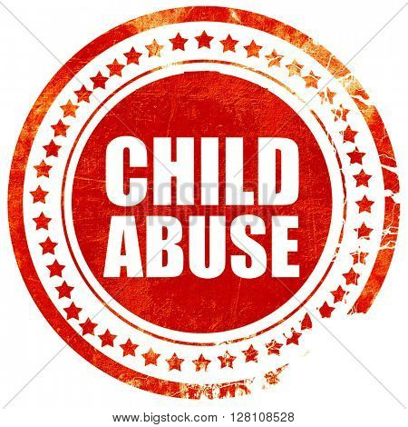 child abuse, red grunge stamp on solid background