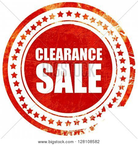 clearance sale, red grunge stamp on solid background