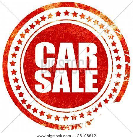 car sale, red grunge stamp on solid background