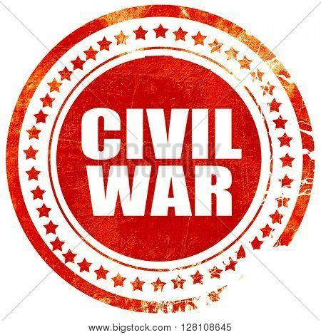 civil war, red grunge stamp on solid background