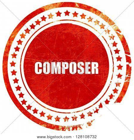 composer, red grunge stamp on solid background