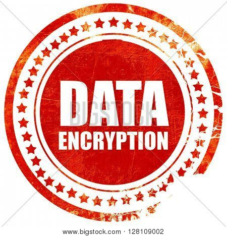 data encryption, red grunge stamp on solid background